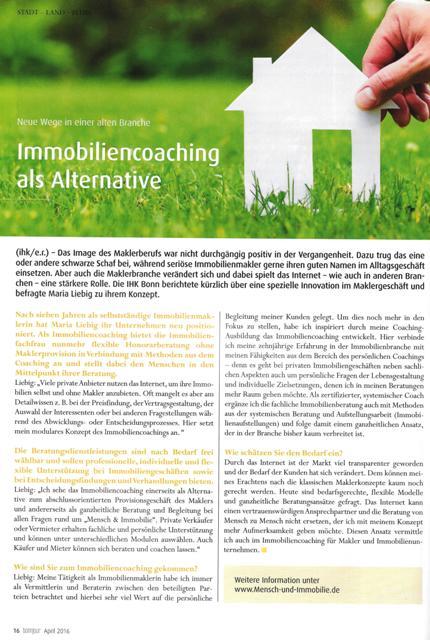 Artikel in der Bonnjour zum ImmobilienCoaching Mensch & Immobilie von Maria Liebig