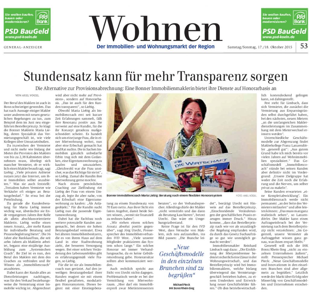 Artikel im Bonner Generalanzeiger zum ImmobilienCoaching von Mensch und Immobilie, Maria Liebig
