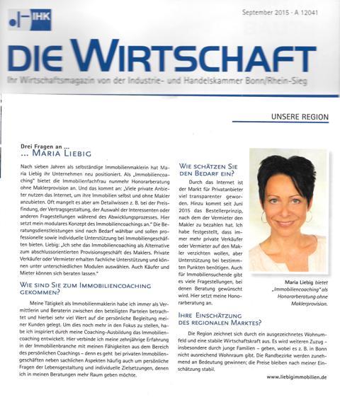 Artikel Die Wirtschaft, IHK Bonn über Immobiliencoaching Mensch und Immobilie