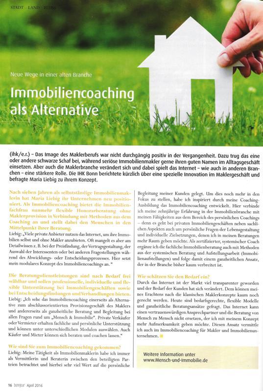 Artikel in der Bonnjour zum ImmobilienCoaching Mensch und Immobilie von Maria Liebig