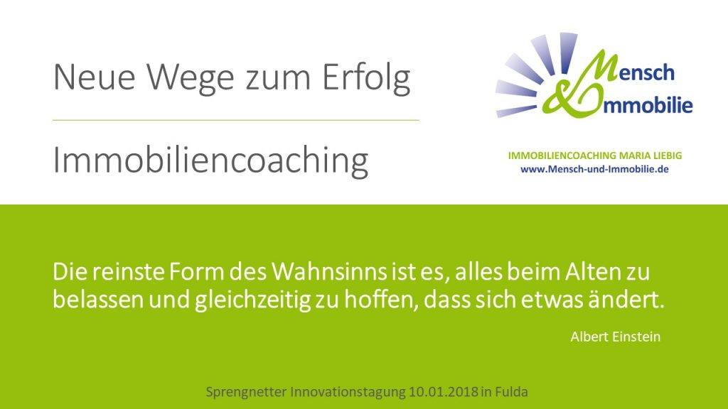 Vortrag Innovationstagung 2018, Immobiliencoaching